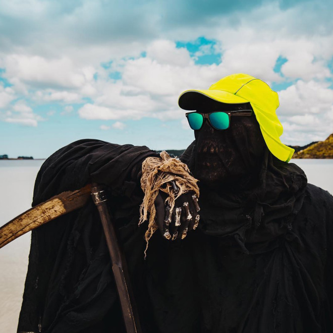 New Zealand's water safety mascot: The Swim Reaper.