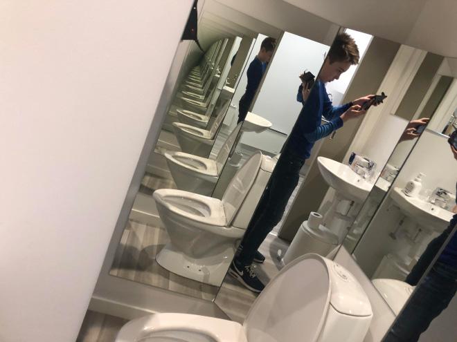 Funny bathroom mirror design fail.