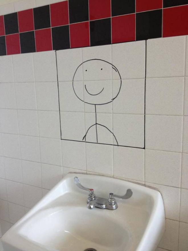 Funny bathroom mirror replacement..