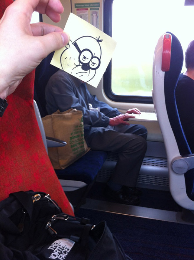 Funny way to pass time on the train.