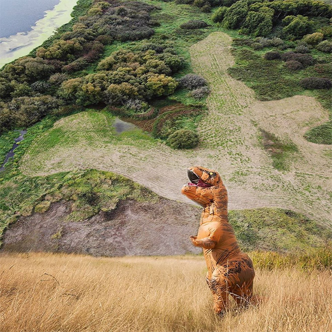 Funny inflatable T-Rex costume.