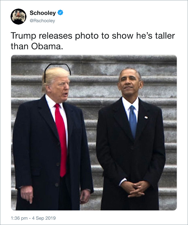 Trump releases photo to show he's taller than Obama.