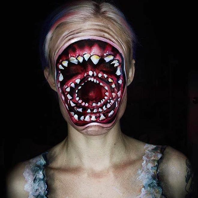 Creepy makeup.