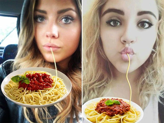 Tired of seeing duckface selfies on Instagram? Just add spaghetti! Once again, pasta fixes everything!