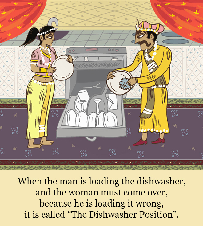 "When the man is loading the dishwasher, and the woman must come over, because he is loading it wrong, it is called ""The Dishwasher Position""."