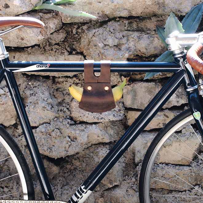 Leather banana holder for your bicycle.