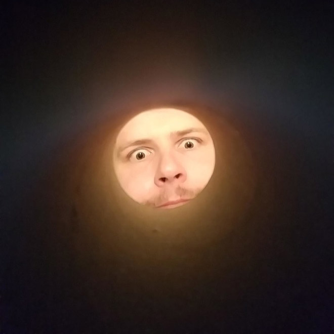 Photo taken trough a toilet paper roll to look like the Moon.