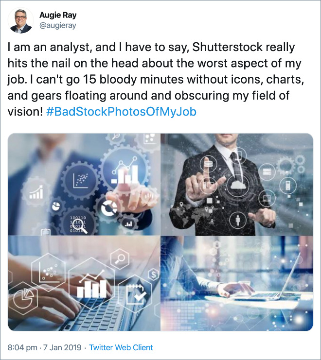 I am an analyst, and I have to say, Shutterstock really hits the nail on the head about the worst aspect of my job. I can't go 15 bloody minutes without icons, charts, and gears floating around and obscuring my field of vision!