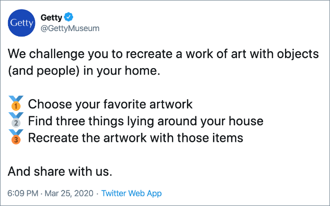 We challenge you to recreate a work of art with objects (and people) in your home.