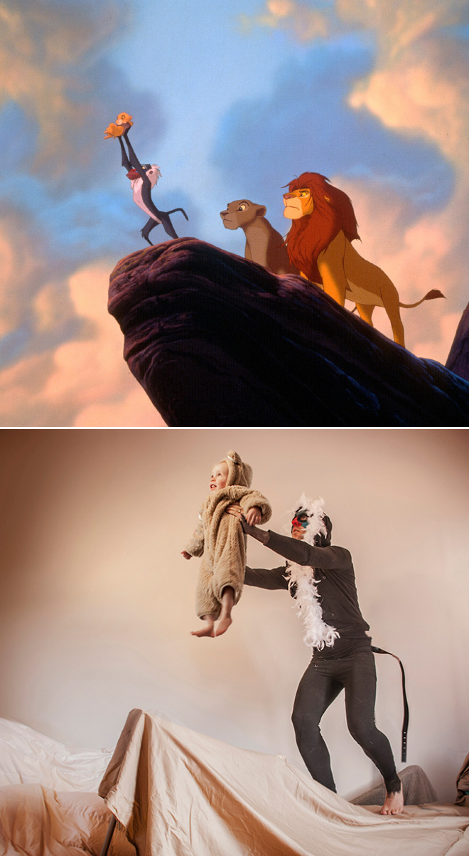 Recreation of a famous movie scene.