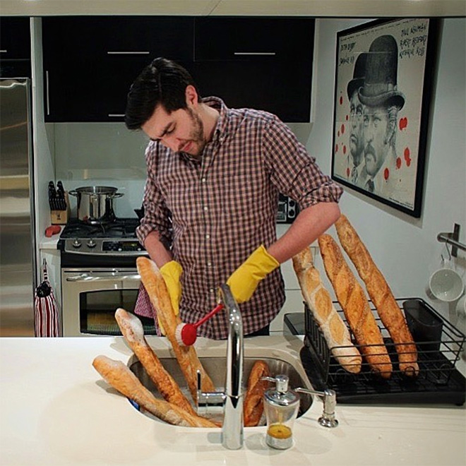 What to do if you have a baguette and are bored out of your mind? This.