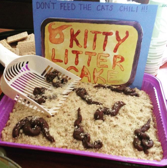 Kitty litter cake.