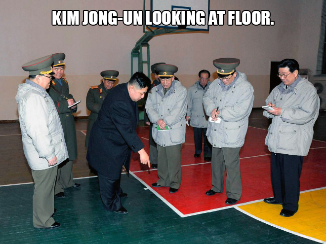 Kim Jong-un looking at things.
