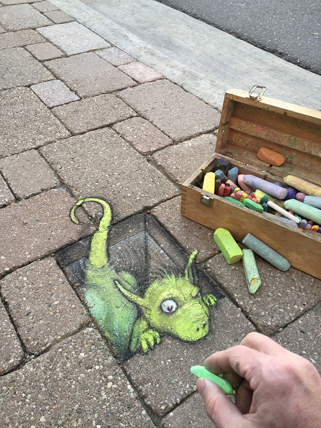 Awesome 3D chalk street art.