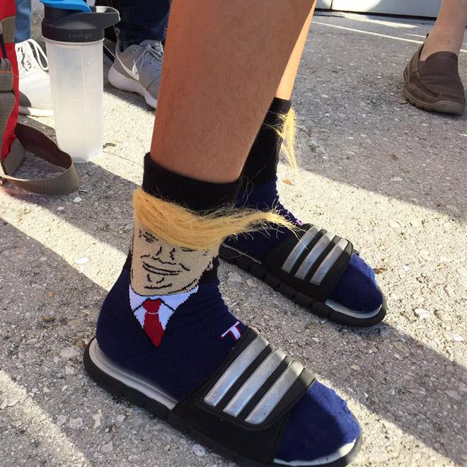 Trump socks with realistic hair.
