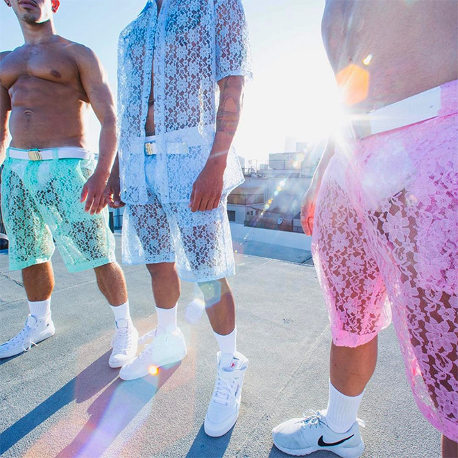 Men's lace shorts Summer fashion crime.