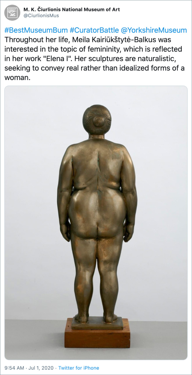 """Throughout her life, Meila Kairiūkštytė-Balkus was interested in the topic of femininity, which is reflected in her work """"Elena I"""". Her sculptures are naturalistic, seeking to convey real rather than idealized forms of a woman."""