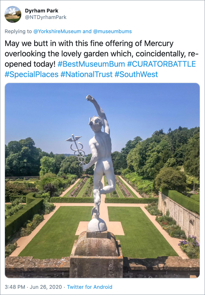 May we butt in with this fine offering of Mercury overlooking the lovely garden which, coincidentally, re-opened today!