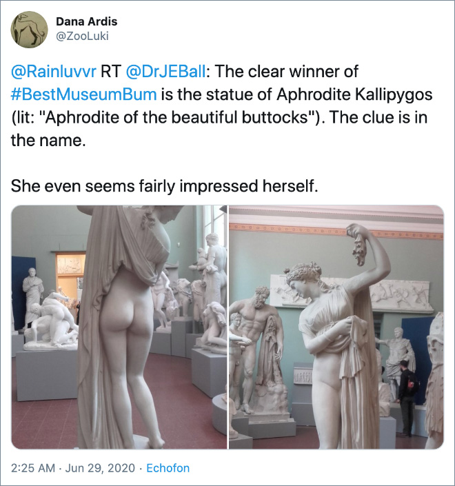 """The clear winner of #BestMuseumBum is the statue of Aphrodite Kallipygos (lit: """"Aphrodite of the beautiful buttocks""""). The clue is in the name."""