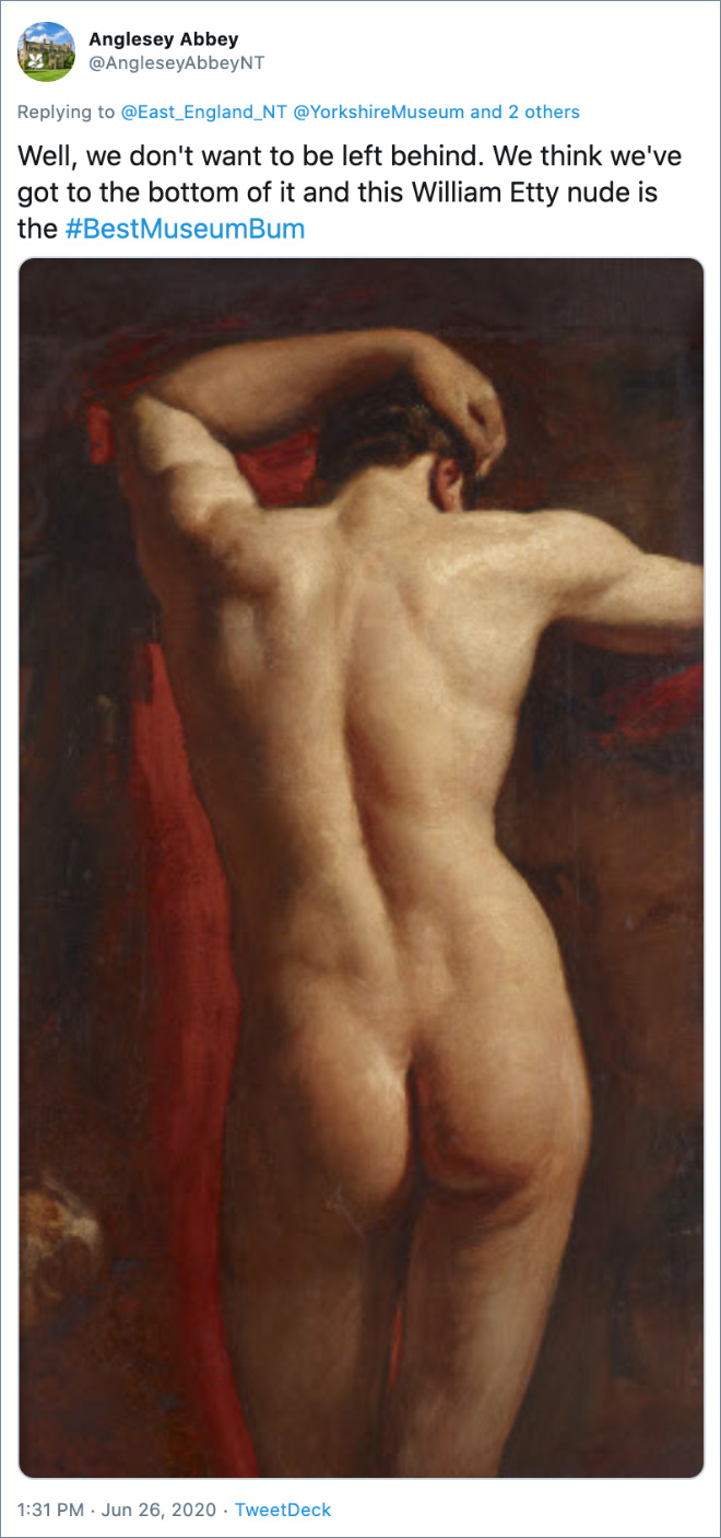 Well, we don't want to be left behind. We think we've got to the bottom of it and this William Etty nude is the #BestMuseumBum