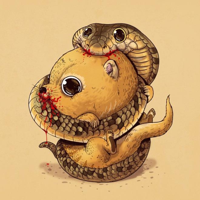 Predator vs. prey.
