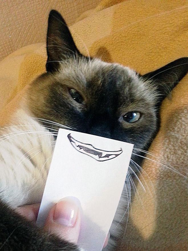 Funny paper cutout facial expression.