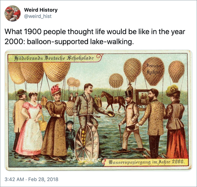 What 1900 people thought life would be like in the year 2000: balloon-supported lake-walking.