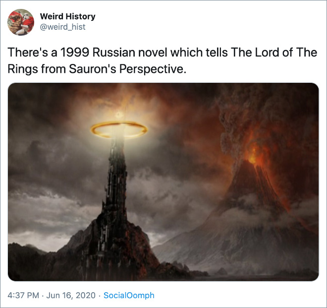 There's a 1999 Russian novel which tells The Lord of The Rings from Sauron's Perspective.