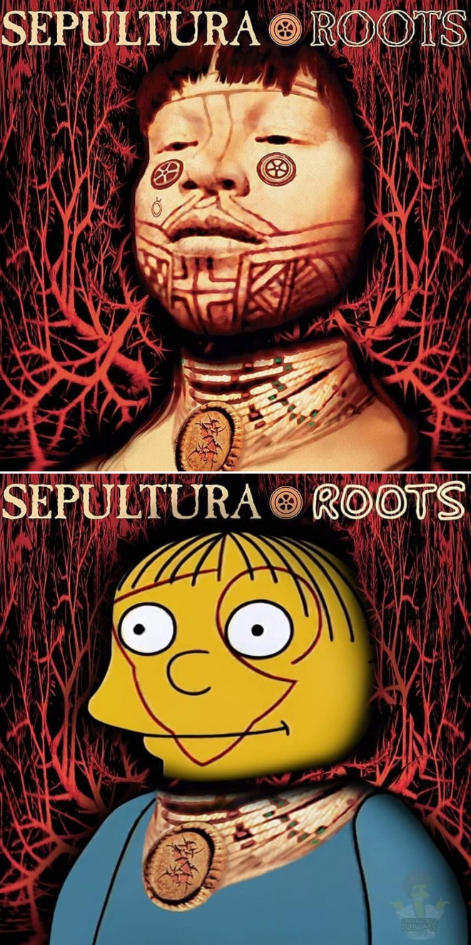 Album cover recreated with characters from The Simpsons.