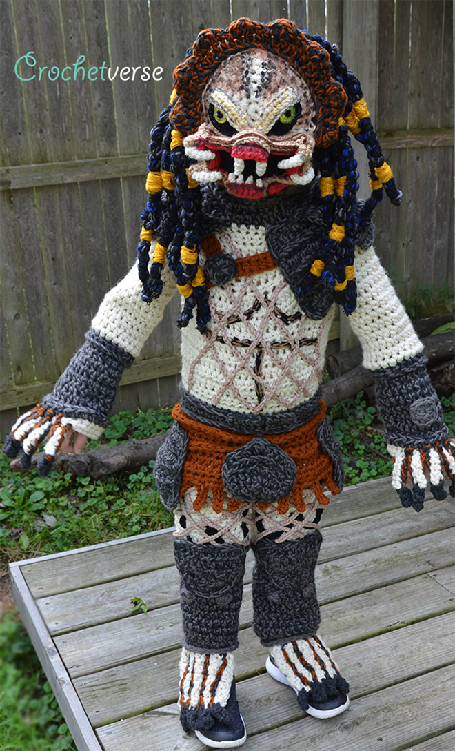 Crocheted Predator costume.