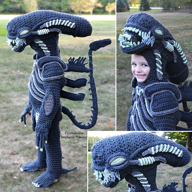 Awesome crocheted costume.