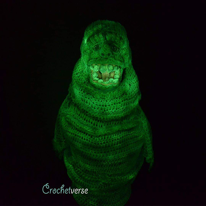 Crocheted Slimer costume.