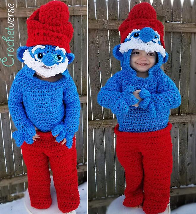 Crocheted Papa Smurf costume.