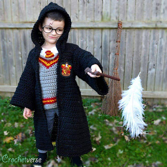 Crocheted Harry Potter costume.