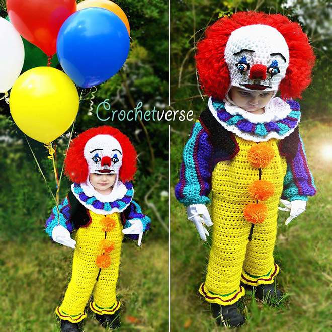 Crocheted clown costume.