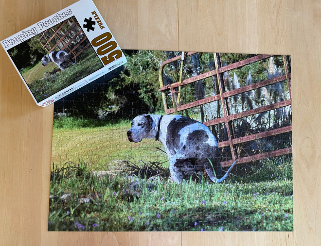 Pooping Pooches 500 piece jigsaw puzzle.