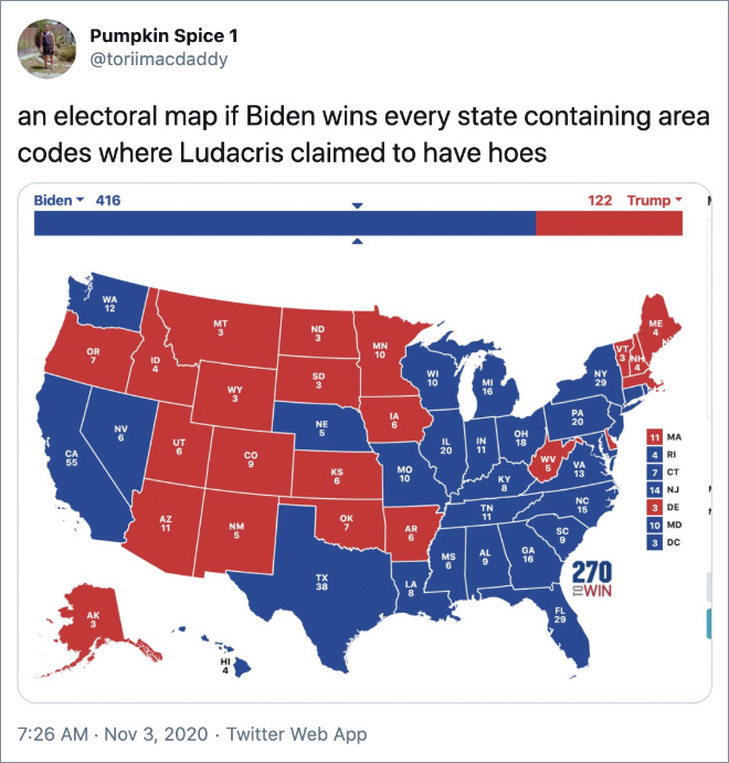 an electoral map if Biden wins every state containing area codes where Ludacris claimed to have hoes