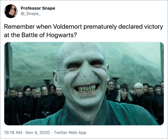 Remember when Voldemort prematurely declared victory at the Battle of Hogwarts?