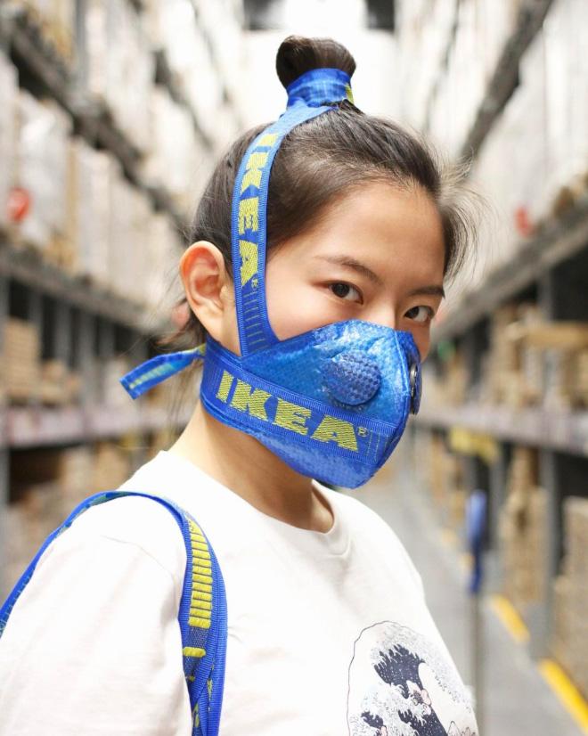IKEA blue bag mask.