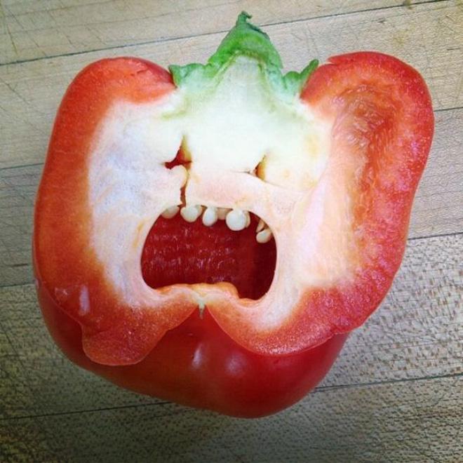 Pepper screaming in horror.