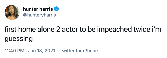 first home alone 2 actor to be impeached twice i'm guessing