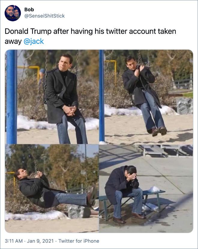 Donald Trump after having his twitter account taken away