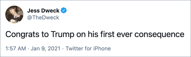 Congrats to Trump on his first ever consequence