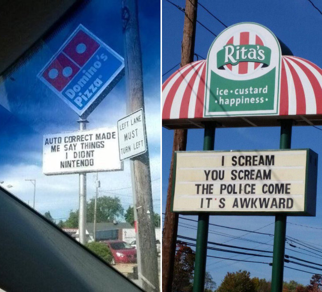 Funny fast food signs.