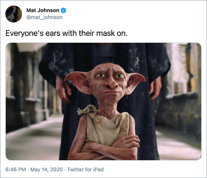 Everyone's ears with their mask on.