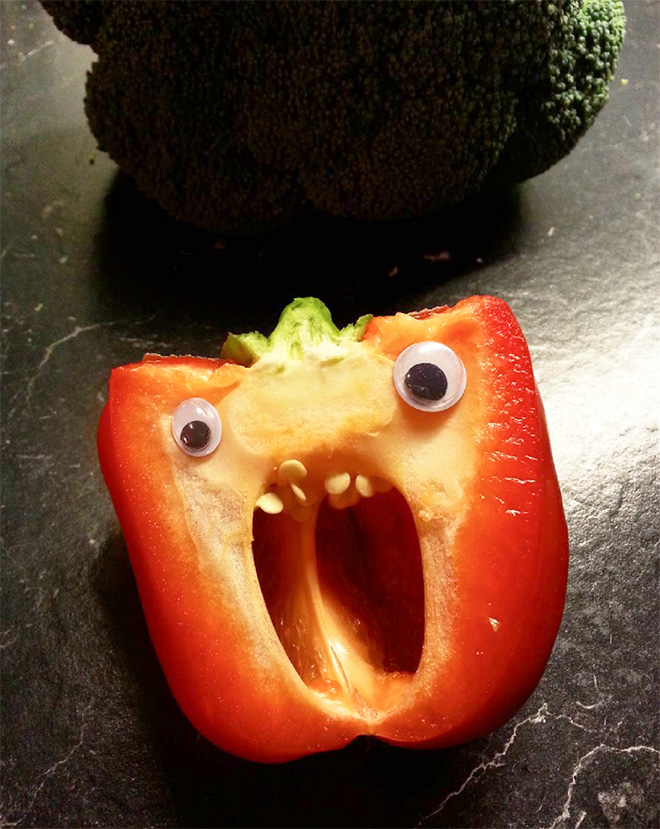 Bell pepper with googly eyes.