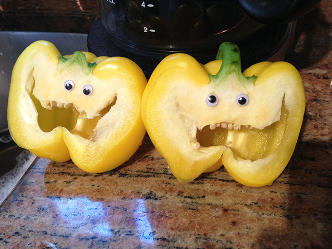 Bell peppers with googly eyes.