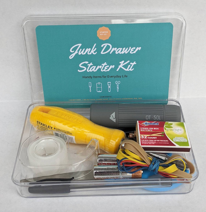 Junk Drawer Starter Kit that you can actually buy on Etsy.