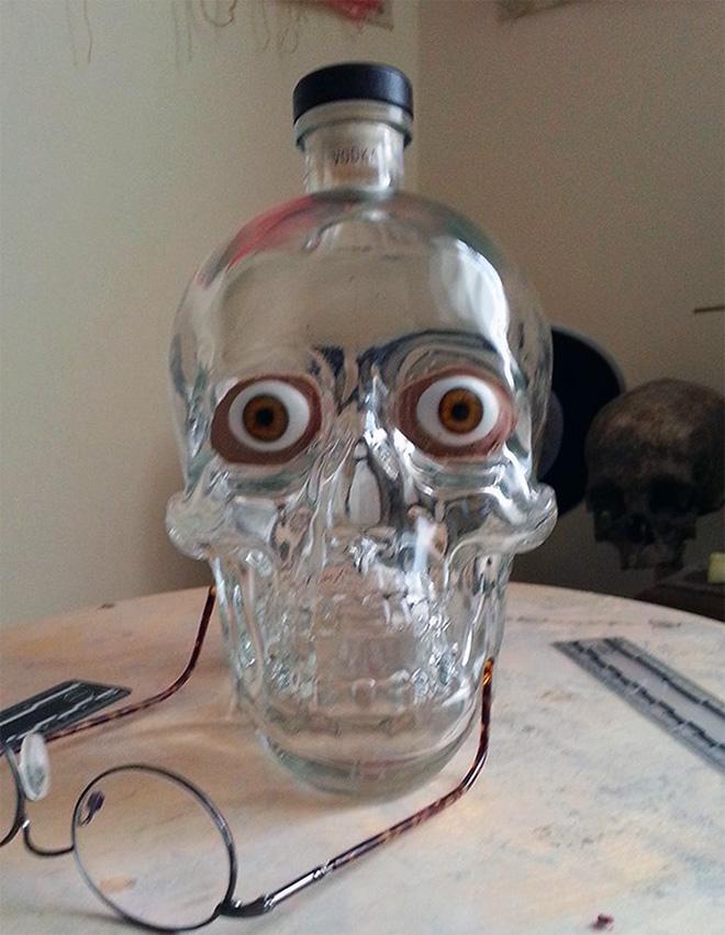 Vodka skull bottle facial reconstruction.