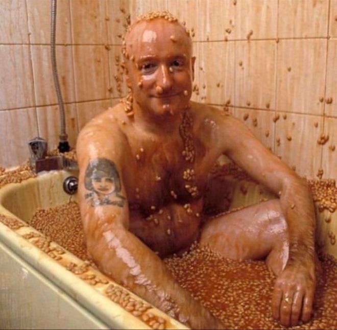 Bathing in beans.
